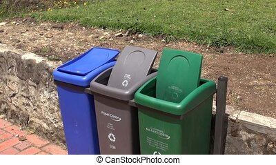 Windy, Trash Cans, Garbage, Recycli
