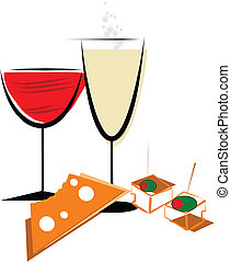 wine and cheese abstract over white vector