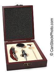 Wine accessories in wooden box