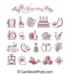 Wine accessory winemaking vector icons glass bottle corkscrew opener and production barrel
