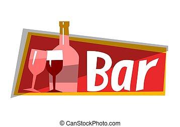 Wine Alcohol Bar, Cafe Restaurant Logo Vector
