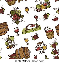 Wine and barrels with alcoholic beverage seamless pattern...