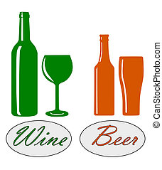 Wine and beer. - Wine and beer silhouette - vector...