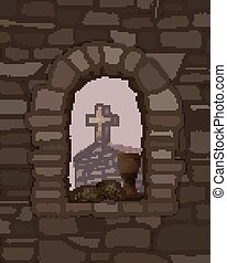Wine and black bread on an arched stone window, ancient medieval church and cross. vector illustration