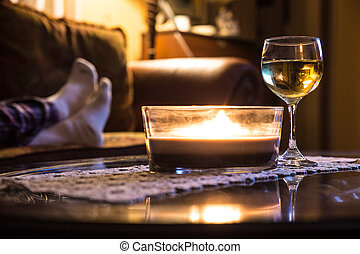 Wine and candle