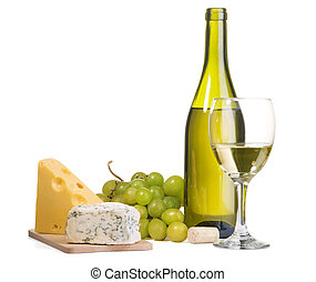 Wine and cheese still-life - White wine and different sorts ...