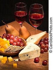 Wine, cheese, fruits