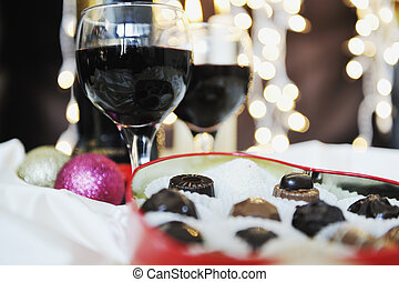 wine and chocolate - luxury and sweet praline and chocolate...