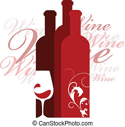 wine and glass vector design template, vector illustration