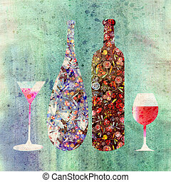 wine and glasses - Bottle of wine and wine glasses on a...