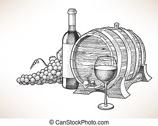 Wine and grape - Hand drawn illustration of wine and grape