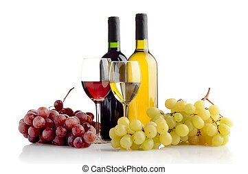 Wine and grapes isolated on white - Red and white wine in...