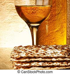 Wine and matzoh - Still-life with wine and matzoh (jewish...