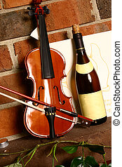 Wine and Music - Still life of mucial violin and great...