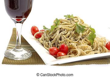 Wine and Pesto Pasta - Linguine with pesto sauce served with...