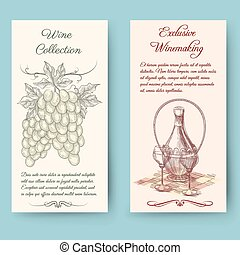 Wine and wine making vertical banners