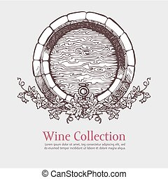 Wine barrel with grapes wreath.
