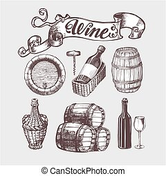 Wine and winemaking vintage set. Wine template design....