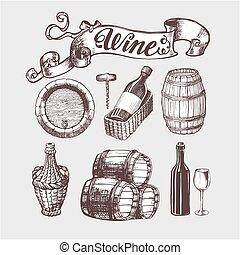 Wine and winemaking vintage set.