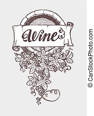 Wine and winemaking vintage vector barrel with grapes...