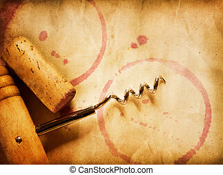 Wine Background. Wine Cork, Corkscrew And Red Wine Stains On...