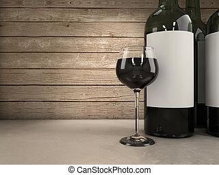 Wine background - Wine glass and bottles background