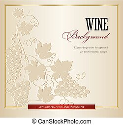 Wine background with grapes branch.
