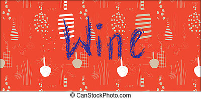 Wine banner design with bottles in red