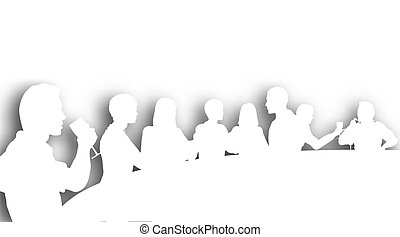 Editable vector cutout silhouettes of people in a wine bar with background shadow made using a gradient mesh