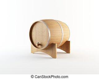3D rendering of a wooden wine barrel