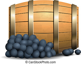 Wine barrel and grapevine on white background