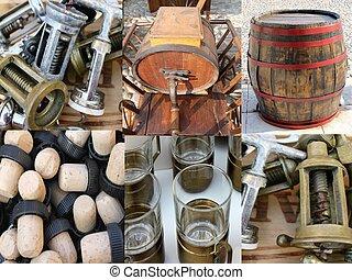 wine barrel and old corkscrew