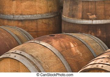 Barrel used to store vintage Wine