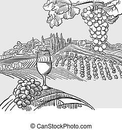 Wine barrel grapes and landscape Illustration