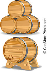 Wine barrel - Wooden wine barrel, vector editable...