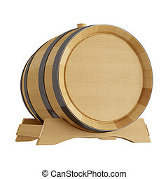 wine barrel isolated on white - hi resolution of a wine...