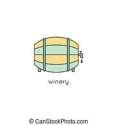 Wine barrel line icon