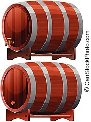 Wine Barrel on White Background