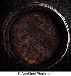 wine barrel over grunge background