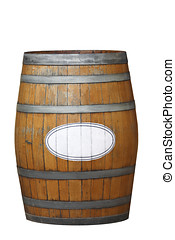 Wine Barrel - an old weathered wine barrel, isolated on a...
