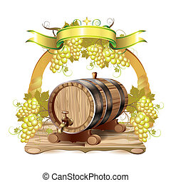 Wine barrel with white grapes