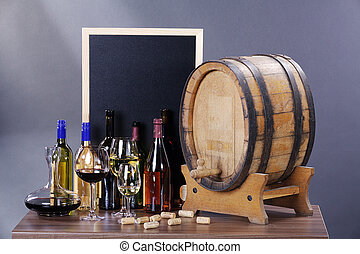 wine barrel with blackboard