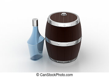 Wine Barrel with bottle