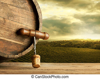 Wine barrel with cork and corkscrew