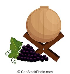wine barrel with grapes cluster