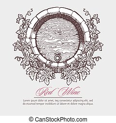 . Wine barrel with grapes wreath - Wine and wine making....