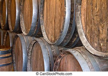 Wine barrel - Wooden wine barrels in a wine cellar.
