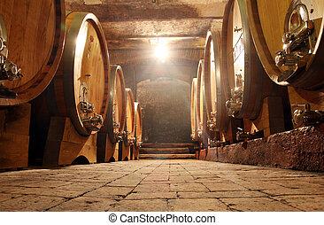 Wine barrells - Some barrells in a  cellar