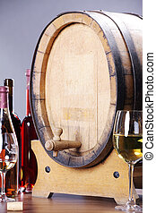 wine barrels and wine glasses