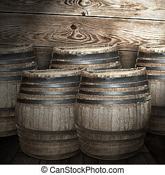 Wine barrels background